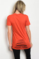 Short Sleeve Distressed Lace-up Rust Top  (21-15)