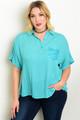 Plus Size Short Sleeve Mint Button Top (21-27)