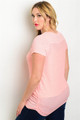 Plus Size Lightweight Peach Ribbed Top  (22-3)