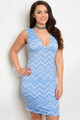 Plus Size Sleeveless Chevron Print Light Blue Dress (22-33)