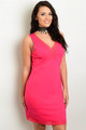 Plus Size Sleeveless Lace Detail Hot Pink Dress  (22-34)