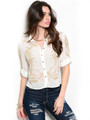 Sheer Collared Ivory Top with Gold Accents (24-8)