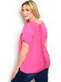 Plus Size Short Sleeve Fuchsia Lace Detail Top (24-9)