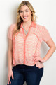 Plus Size Sheer Coral/White Stripe Top (24-11)