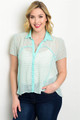 Plus Size Sheer Mint/White Stripe Top (24-12)