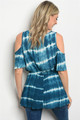 Cold Shoulder Cobalt Tied Dyed Tunic Top (24-19)