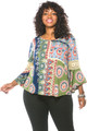 Boho Multi Color Paisley Bell Sleeve Plus Size Top (25-3)