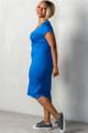 Royal Blue Plus Size Basic Short Sleeve Midi Dress (25-5)