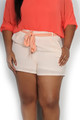 Light Peach Waist Tie Strap Two Pocket Plus Size Shorts (25-7)