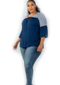 Plus Size Navy with white Pattern Tie-Front Top (25-8)