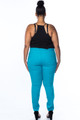 Plus Size Skinny Cotton Spandex Blue Pants (25-10)