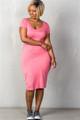 Pink Plus Size Basic Short Sleeve Midi Dress (25-12)