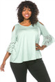 Lace Bell Sleeves Cold Shoulder Plus Size Light sage Top (25-13)