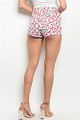 White Denim Red Floral Shorts (26-1)
