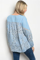 80% Cotton Long Sleeve Blue Paisley/Floral Top. (26-4)