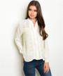 Light Yellow Long Sleeve Lace Blouse (26-10)