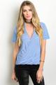 Short Sleeve Blue/White Stripe Top (26-27)