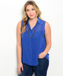 Plus Size Sleeveless Chiffon Royal Blue Top (26-35)