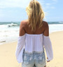White Off-Shoulder Fringe Crop Top (6-49)