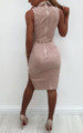 Sexy Suede V Neck Mini Dress Pink (5-10)