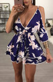 Sexy Floral Print Open Sleeves Mini Dress Blue (4-39)