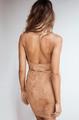 Sexy Suede Grommet Waist Hollow Tan Dress (4-44)