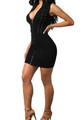 Sexy Zipper Front Sleeveless Black Dress(4-51)