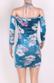 Sexy, Party Velvet Floral Print Tie Neck Mini Dress Blue(4-76)