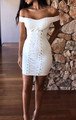 Sexy Club Off Shoulder Lace Up Front Dress White (4-87)