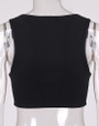 Lace Up Front Tank Top Strappy Vest Black (4-91)