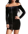 Black Long Sleeve ZIpper Front Velvet Dress (4-98)