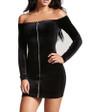 Black Long Sleeve ZIpper Front Velvet Dress (4-98)