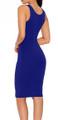 Sexy, Club Hollow Waist Tight Midi Dress Blue (4-101)