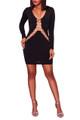 Rhinestones Long-Sleeves Sexy Mini Dress Black (4-106)