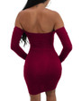 Sexy Lace Up Front Off Shoulder Long-Sleeves Club Dress Red (4-129)