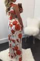 Sexy Back Strappy Dress High Slits Carnation Print (4-133)
