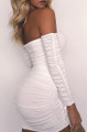 Strappy Sleeves Tight Sexy Off Shoulder Mini Dress White (4-143)