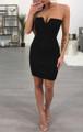 Sexy Strapless Zipper Front Mini Dress Black (4-145)