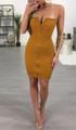 Sexy Strapless Zipper Front Mini Dress Yellow (4-147)