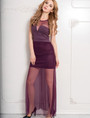 Wine Short Dress Sleeveless Maxi Sheer Overlay (3-7)