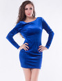Long Sleeve Low Back Royal Blue Velvet Dress (3-9)