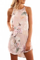Summer Floral Print Pink Sleeveless Dress (1-117)
