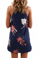 Flower Print Navy Sleeveless Dress Blooming Red (1-115)
