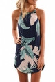 Palm Tree Leaf Print Navy Sleeveless Dress (1-122)
