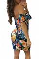 Floral Ruffle Off The Shoulder Sheath Dress (1-124)