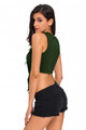Tie Front Sleeveless Crop Top Army Green (1-98)