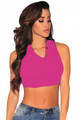 Mock Neck Sleeveless Crop Top Rosy (1-99)
