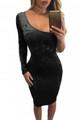 Asymmetric One Sleeve Suede Bodycon Dress Black (1-113)