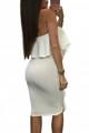 Asymmetric Ruffle Trim Strapless Bodycon Dress White (1-114)
