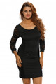 Sexy Party 3/4 Lace Vintage Dress in Whole Black (2-7)